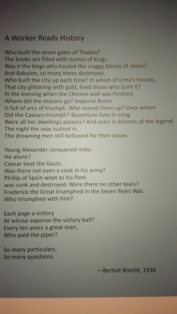 A Worker Reads History, Bertolt Brecht